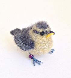 Baby bluetit crochet bird art sculpture by FreshlyKnittedThings