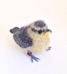Baby bluetit crochet bird art sculpture by FreshlyKnittedThings