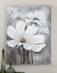C'est une oeuvre qui a été crée par Carolyn Kinder. C'est quatre fleurs blanches sur un font gris et brun et devant la toile il y a deux bouteille vert, gris et noir. Les fleurs prennent toute l'espace. J'ai ressenti de la tristesse car les fleurs ont dit quelles sont mortes quel non bien été entretenu. Les couleurs ne me donnaient pas un grand sourire .