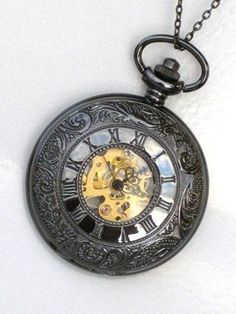Steampunk ROMAN NUMERALS Pocket Watch Mechanical Chain Steam Punk Glow Face >>> More info could be found at the image url.