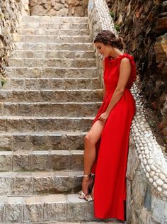 red long dress (Seams for a desire) Red Gowns, Maxi Gowns, Dresses, Gown Dress, Outfit Vestido Rojo, Fiesta Outfit, Red Maxi, Yes To The Dress, Ideias Fashion