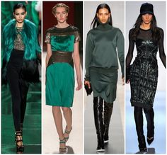 (Monique Lhullier, Carolina Herrera, Reed Krakoff, Herve Leger)  Considering emerald is the color of 2013, it was not surprising to see the deep green all over the runways. I love how designers toughened up the luxe hue with black leather for Fall.