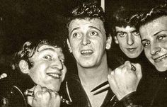 Gene Vincent goofing with The Beatles at the Cavern Club (Lennon, Vincent, Harrison, Best). #chuckabillyrules