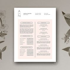 Resume & Cover Letter Template docx by Botanica Paperie on @creativemarket