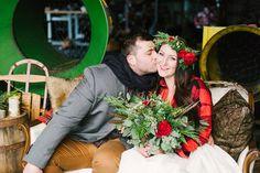wedding portraits - photo by Alicia King Photography http://ruffledblog.com/christmas-tree-farm-wedding-inspiration-with-tradition