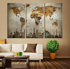 Large world map canvas print wall art 13 or 5 panel art extra vintage world map canvas print large world map wall art x large world map canvas print the 7 wonders of the world on world map wall art gumiabroncs Choice Image