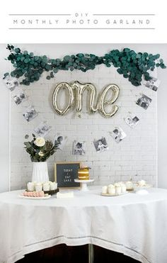 DIY Monthly Photo Garland for Baby& First Birthday - ., DIY Monthly Photo Garland for Baby& First Birthday - Baby 1st Birthday, Birthday Diy, First Birthday Parties, Cake Birthday, Simple 1st Birthday Party Boy, Birthday Garland, First Birthday Decorations Boy, Birthday Board, First Birthday Balloons