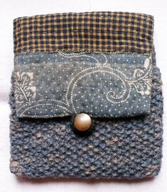 RESERVEDpouch/purse/wallet in antique katazome cotton, wool and nettle, hand sewn, hand quilted, hand knitted/ sashiko/katazome