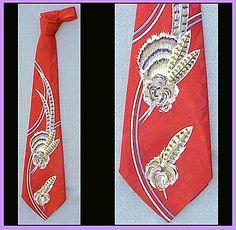 Vintage 1950s Necktie Mid Century Men's Fashion Neck Tie Flamboyant!