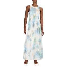 Calvin Klein Floral Chiffon Maxi Dress ($50) ❤ liked on Polyvore featuring dresses, serene multi, white sleeveless dress, calvin klein dresses, white floral dress, floral dress and maxi dresses