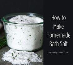 How to make homemade bath salts. Make great DIY gifts.