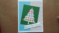 For this Christmas card I used paper from general craft stores.  The pattern was cutout with a Fiskars punch. I used Stampin Up stamp set Snow place and the matching die set Perfect Pines for the tree. For ink I used Tsukineko Brilliance Pearlescent Sky Blue.