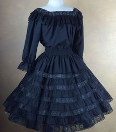 Square Dance Skirt & 3/4 Sleeve BlouseSquare Up Black w Sheer Lace trimmed S #SquareUp