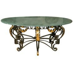 Art Nouveau Style Crackle Glass Round Dining Table 1