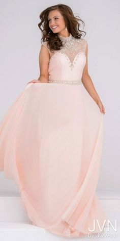 JVN by Jovani Embellished High Collar Cap Sleeve Prom Dress