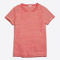 J.Crew Short-sleeve striped sweater T-shirt ($35) ❤ liked on Polyvore featuring tops, t-shirts, short sleeve t shirts, striped tee, j crew tees, stripe t shirt and short sleeve tee