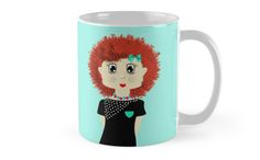 Cute little red head with big red fluffy hair, such a cute cartoon girl…