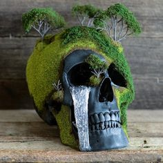 Spring Bonsai Mountain Skull #Artwork, #HandMade, #Skull