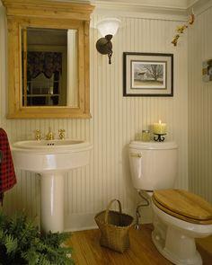 Coastal Bathroom With Blue And White Motif Blue Bead Board Walls