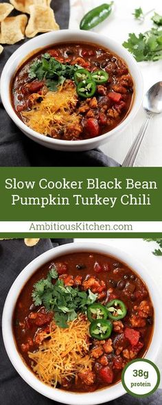 This black bean pumpkin turkey chili is both healthy and bursting with sweet and spicy flavors thanks to a hint of maple syrup, cinnamon, chili powder & cayenne pepper! Perfect for game day or a clean eating meal prep!