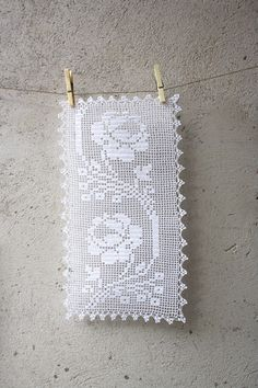 Romantic white filet crochet table doily or runner door aCasaMia