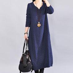Long Sleeve V Neck Women Loose Navy Blue Dress