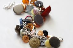 Sold! Multicolor Rainbow Upcycled Vintage Button Jingle Charm Bracelet by CinnamonandSilver