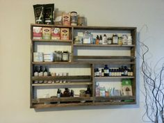 Shelf made for essential oils from recycled pallet wood