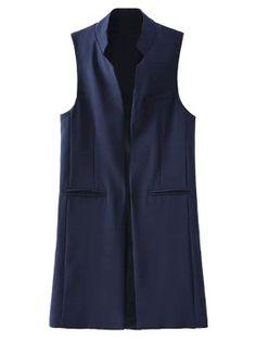 Shop Blue Stand Collar Pocket Longline  Waistcoat from choies.com .Free shipping Worldwide.$35.99