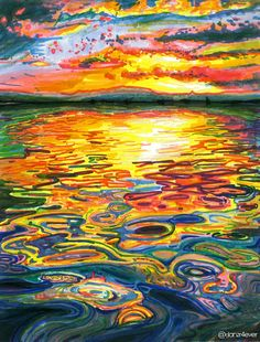 Ocean Sunset - markers and colored pencil by ©danzr4ever (via deviantART)