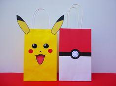Instant Download Pokemon Favor Bags  by CreativePartyStudio Poke ball favors/ favor. Pokeball favor bags. Pikachu favors/ favor bag/bag