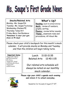 3rd Grade Grapevine: FREE Back to School Newsletter...part of my ...