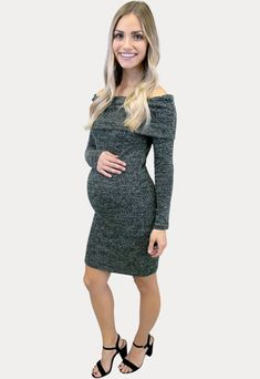 Maternity Sweater Dress in Olive - Sexy Mama Maternity Bring on those cool weather days! Our maternity sweater dress in olive will keep your style on point. This dress is ideal for all your favorite cool weather activities! Features an adorable fold over top, long sleeves and form fitting design. Perfect throughout all nine months of pregnancy and beyond!