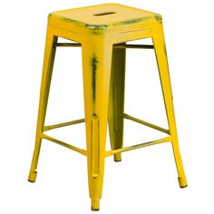 Flash Furniture Distressed Yellow Metal Stool [ET-BT3503-24-YL-GG]