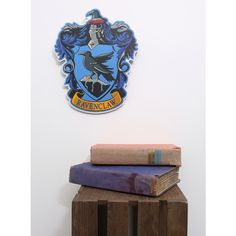 Harry Potter Ravenclaw Crest Wood Wall Art ($12) ❤ liked on Polyvore featuring home, home decor, wall art, wood wall art, wooden home accessories, wood home decor, wooden home decor and wooden wall art