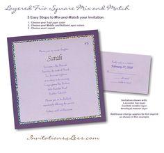 Layered Trio Square Bat Mitzvah Invitation