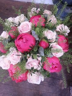 Coral charm peonies, Sweet Avalanche roses and green bell made by Alice