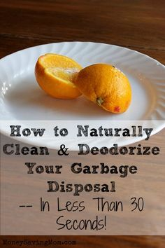 How to naturally clean & deodorize your garbage disposal. Use oranges or lemons chopped into small pieces, drop them into the disposal with running cold water. TIP**You should ALWAYS run cold water while using your garbage disposal. Green Cleaning, House Cleaning Tips, Cleaning Hacks, Apartment Cleaning, Money Saving Mom, Cleaning Painted Walls, Household Cleaners, Household Tips, Clean Dishwasher