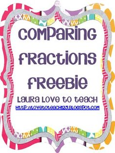 FREE Comparing Fractions Grades 3-5