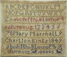 SMALL EARLY 19TH CENTURY ALPHABET SAMPLER BY MARY MARSHALL 1849