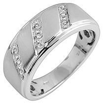 0.33 ct. t.w. Round Cut Diamond Gents Band in 14K White Gold (I, I1) - Size 10