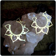 Lotus Hoop Earrings Gold Brass ~ fake gauge tribal style ~ Belly Dance Festival Boho Gypsy layer with tunnels eyelets ~ flower of life hoops, 42$