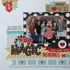 Simple Stories – Say Cheese Collection – 12 x 12 Cardstock Stickers – Fundamentals Extra-small Scrap Book Pages – Disney Crafts Ideas Paper Bag Scrapbook, Disney Scrapbook Pages, Scrapbook Sketches, Scrapbook Page Layouts, Scrapbook Supplies, Scrapbook Cards, Scrapbooking Ideas, Photo Layouts, Friend Scrapbook
