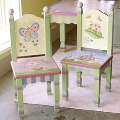 Hand Painted Childrens Table And Chairs - Foter Painted Rocking Chairs, Hand Painted Chairs, Wooden Table And Chairs, Kids Table And Chairs, Kid Table, Hand Painted Furniture, Painting Kids Furniture, Funny Furniture, Kids Wood