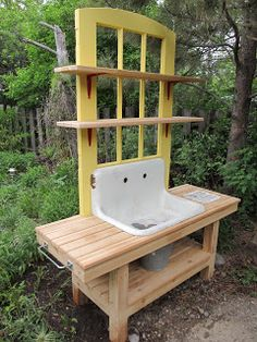 Montana Wildlife Gardener: Repurposed kitchen sink!  I love this idea.  Even better if there was an actual water supply.  I would omit the bucket and run a drain pipe straight down or towards the back.  Dig a shallow hole directly under the pipe and filled with pebbles, rocks or even pieces of broken terracotta pots.  To take the water away dig a shallow trench which would branch out into the garden areas.  No lugging buckets of water away and the garden is watered without any extra effort.