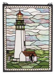 Features:  -Mounting bracket and jack chain included.  -Nautical collection.  -Rope pattern frames the scarlet roofed white and green building on rolling green grass and cloud filled wispy blue sky.