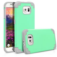 Galaxy S6 Edge Case, MagicMobile® Hybrid Ultra Protective Slim Armor Case For Samsung Galaxy S6 Edge Shockproof Skin Hard Dual Cover High Impact Case for Galaxy S6 Edge (2015)[Mint Green / Light Gray]