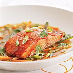 Hoisin-glazed Wild Alaska Salmon in Ginger Broth | MyRecipes.com  www.gaea.gr
