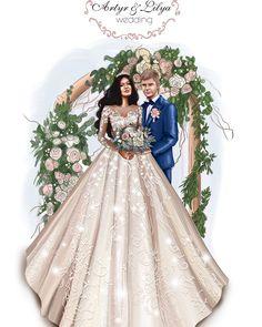 Wedding Drawing, Wedding Art, Wedding Couples, Wedding Illustration, Illustration Art, Art Illustrations, Homemade Costumes, Girl House, Fashion Sketches