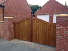 Iroko Wood Timber Gate installed in East Yorkshire Timber Gates, East Yorkshire, Colorado, Doors, Architecture, Outdoor Decor, Home Decor, Wooden Gates, Slab Doors